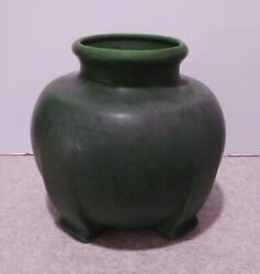 Rare Antique Owens Art Pottery Mission Arts And Crafts Matte Green Footed Vase