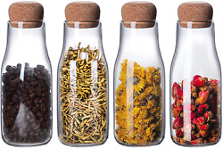 4 Sets 11oz/300ml Small Glass Food Storage Bottle With Cork Lid, Clear Canister