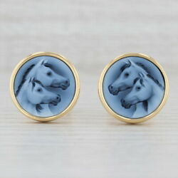 Vintage Carved Chalcedony Horse Cufflinks 18k Yellow Gold Western Equestrian