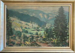 K. Pfaff Forest Trees Rocks Hill Mountains Alps Farmhouse Fields Antique Signed
