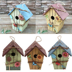 Pack Of 3 Wooden Outside Hanging Bird House For Small Bird Nature Wood Birdhouse