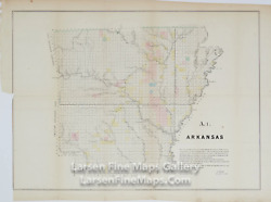 1850 Rare Map Of The Arkansas Surveying District, Choctaw Indian, Cherokee