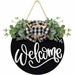 Welcome Sign For Front Door Farmhouse Wreath Front Door Wall Decor With Black