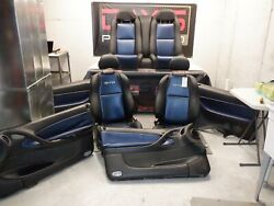 2006 Pontiac Gto 8pc Set Front And Rear Seats W/ Door Panels Black With Blue Ins