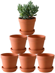 Terra Cotta Pots With Saucer- 6-pack Large Terracotta Pot Clay Pots 5 Clay Pot