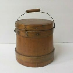 Antique 6.75 Sugar Bucket / Firkin With Lid, 3-finger Lapping, Copper Nails