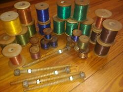 Silk Thread Antique Lot Collection Estate Sale 17 Wooden Spools French