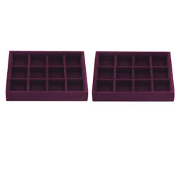 2pcs 12 Grids Velvet Stackable Jewelry Tray Showcase Display Organizer Cases