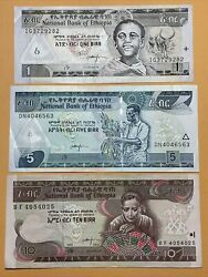 Ethiopia 1, 5 And 10 Birr Current Au Circulated Paper Money - Dated 2000, 08, 17