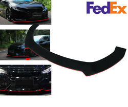 Front Lip Bumper Lip Spoiler Splitter W Red For 2000-2020 Civic Hatchback And Si