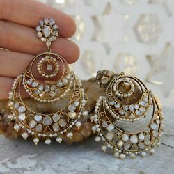 Vintage Earrings In Sterling Silver 925 Gold Plating Natural Pearls Diamonds