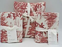 Pottery Barn Alpine Toile Organic Percale King Duvet Cover W 2 Shams Red L148