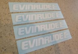Evinrude Vintage Outboard Motor Decals 4-pak White Free Ship + Free Fish Decal