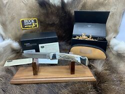 Buck Custom 110 Folding Hunter Knife With Elk Handles And Leather Pouch Mint Box++