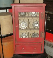 Vintage Small Primitive Farm Kitchen Cupboard Handmade Hanging Cabinet Red Paint
