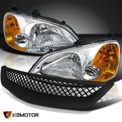 For 2001-2003 Honda Civic 2/4dr Crystal Clear Headlights+t-r Mesh Hood Grille