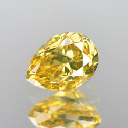 Diamond Yellow Green Pear Cut Top Quality Diamond Natural Color 0.44 Cts