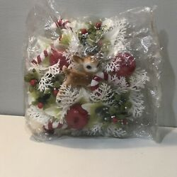 Vintage Kitschy Dimestore Plastic Christmas Wall Hanging Centerpiece Deer Fawn