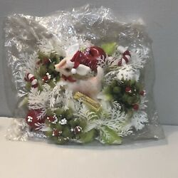 Vintage Dimestore Plastic Christmas Wall Hanging Centerpiece Deer Candy Canes