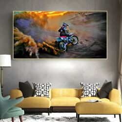 Mountain Competition Extreme Sports Motorcycle Rider Canvas Wall Art Posters