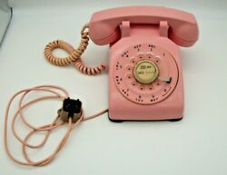 Rare Bell Western Electric Pink Rotary Desk Telephone Cd500, Free Shipping