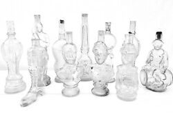 Collection Of Figural Antique French Collectible Glass Bottles Set Of 11
