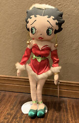 Vtg 1999 Christmas Collection Classic Santa Betty Boop Doll Doop Kellytoy Stand
