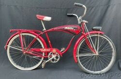 Wow Vintage 1950's Red And Black Schwinn Deluxe Hornet Bicycle Made In Chicago