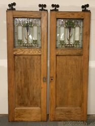 Huge Beautiful Antique Oak Arts And Crafts Pocket Doors W/ Stained Glass Ca. 1900
