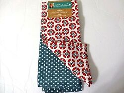 The Pioneer Woman Mod Geo Kitchen Towels 2pc Geometric Retro Dot Red Teal White