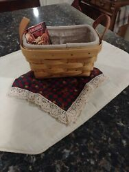 Longaberger Classic Tea Basket With Divided Protector And 2 Liners Jlh 2001