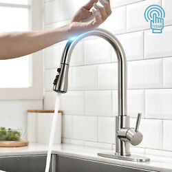 Brushed Nickel Touch Sensor Kitchen Faucet Sink Pull Down Sprayer Swivel W/cover