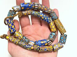 Loose Mixed Lot Chunky Antique African Millefiori Venetian Glass Trade Beads 24