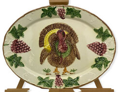 Vintage California Pottery Usa Hand Painted 17.25 X 13.25 Turkey Serving Platter