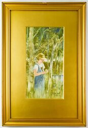 1920 Esther Hunt Watercolor Painting Girl With Flower - Ph2