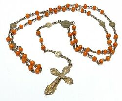 Antique French Victorian 5 Decade Rosary Red Coral Bead Gold Sterling Crucifix