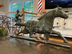 1800s Antique Copper And Brass Sulky Jockey Horse Carriage Buggy Weathervane