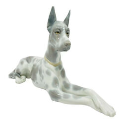 Vintage Rare Lladro Spotted Great Dane Figurine Hand Made In Spain