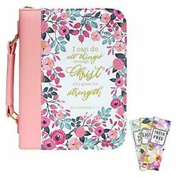 Large Pu Rose Leather Floral I Can Do All Things Bible Cover 10.5 X 7 X 2.6