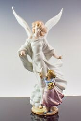 """18.5"""" Magnificent Lladro Figurine 6352 Guardian Angel Numbered, Signed - Ph21"""