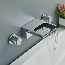 Brass Chrome Bathroom Sink Faucet Dual Handle Wall Mount Waterfall Tub Mixer Tap