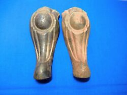 2 Antique Victorian Cast Iron Table Legs H26 Metal Ornate Ball Design Industrial