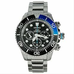 Seiko Watch Menand039s Ssc017p1 Silver Black Analog Round Face Chronograph Diverand039s