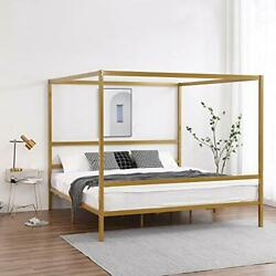 King Canopy Bed Frame, Gold