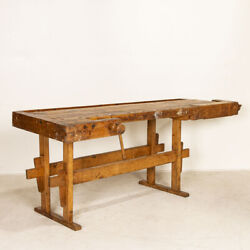 Authentic Vintage Carpenterand039s Workbench Work Table From Hungary