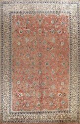 Antique Sarouk Floral Hand-knotted Area Rug Rust Oriental Large Carpet 10'x14'