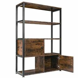 Bookcase Bookshelf With 2 Cabinets Vintage Industrial Book Shelf With Doors