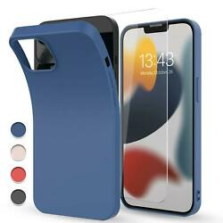 For Iphone 13 Pro Maxmini Case Liquid Silicone Shockproof Covertempered Glass