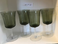 4 Fostoria Green Crystal Poetry Water Goblets Stemware Glasses Etched Floral