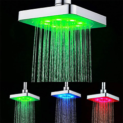 3 Colors Changing Led Lights Temperature Control Shower Head Bathroom 6-inch Squ